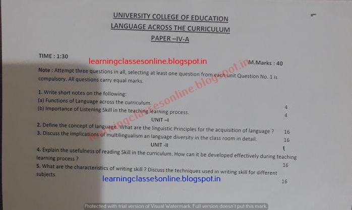 Language acorss the curriculum 2018 Practice Test Series Question paper