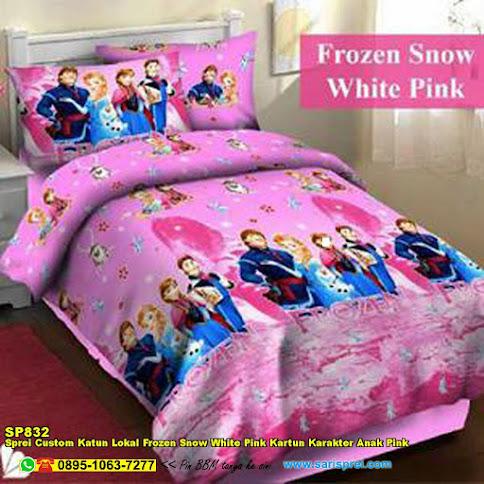 Sprei Custom Katun Lokal Frozen Snow White Pink Kartun Karakter Anak Pink