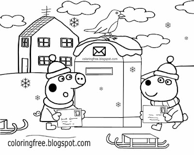 Easy preschool activity cute red robin bird winter scene post box Christmas Peppa pig coloring pages