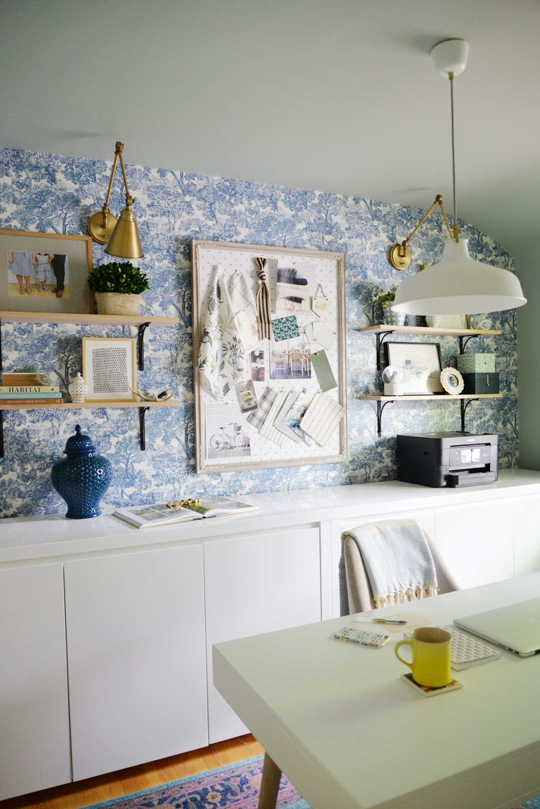 blue toile wallpaper, modern toile wallpaper, feminine office, office wallpaper, wallpaper accent wall