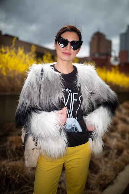 ombre fur coat, pixies band tee, Meryl Franzos