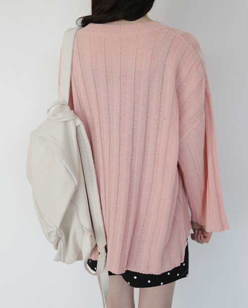 Thick Ribbed High-Low Sweater