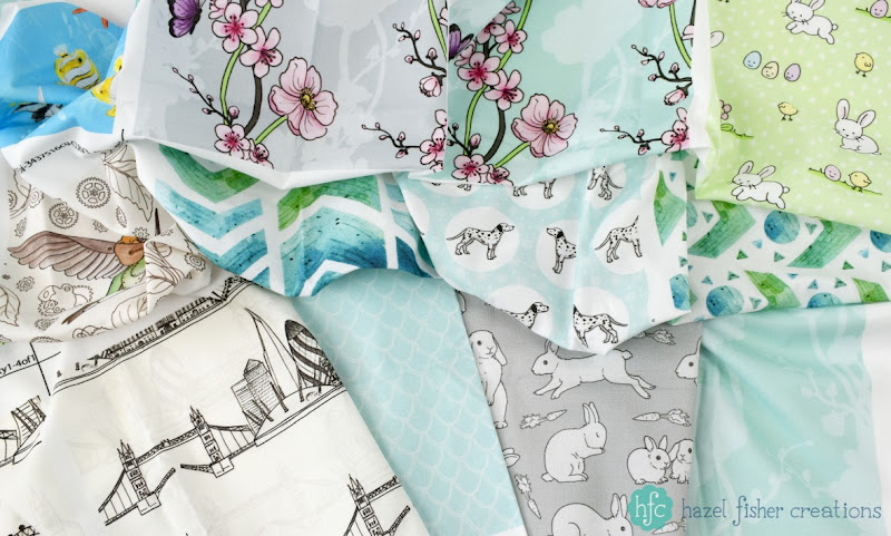 New fabric designs, Spoonflower swatches designed by Hazel Fisher Creations