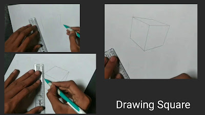 How to draw square shape, 3d drawing of square, square darwing with pencil, 3D darwing tutorial of square on paper, easy pencils drawing, 3d illusion drawing