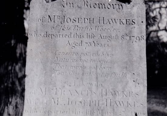 The head-stone of Joseph Hawkes, who was the parish wheelwright, a churchwarden and overseer of the poor of North Mymms 200 years ago Image by Dorothy Colville, part of The Peter Miller Collection