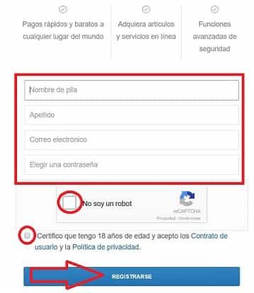Formulario de Registro en Coinbase