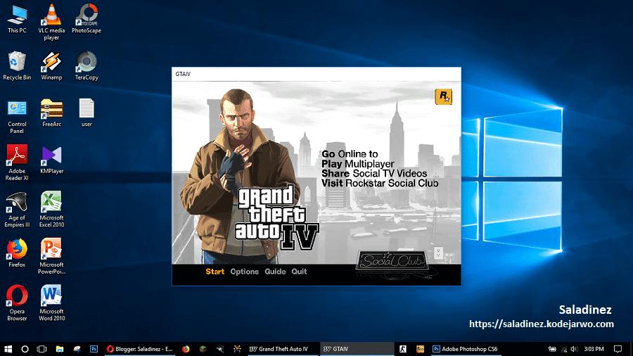 Contoh GTA IV yang dimainkan dalam mode Windowed