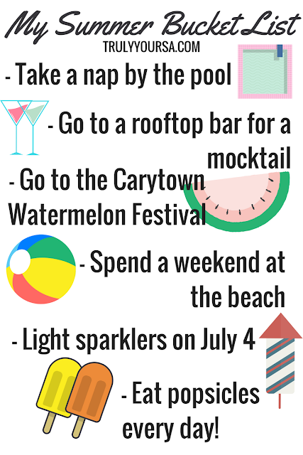 I know the first official day of summer was earlier this week, but I couldn't resist sharing my Summer 2017 Bucket List with you all! My bucket list from last year was pretty good and I managed to cross a few things off it, but I think this year kinda tops it. I'm most looking forward to the Watermelon Festival. I missed it last year because I was working, but I'm determined to make it this year and maybe even take baby McKenna to her first Richmond event!!