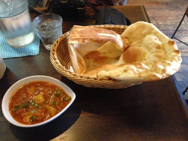 Naan and curry at Bliss, Kuramae, Tokyo.