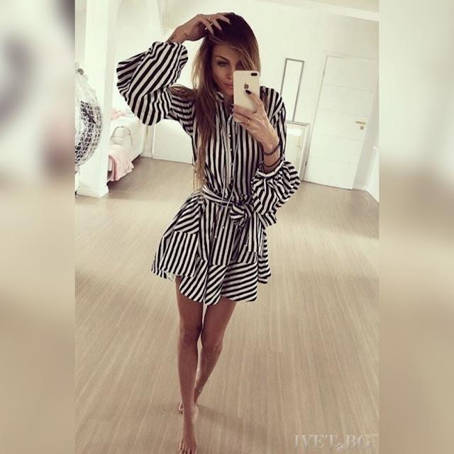 Μακρυμάνικο κοντό   άσπρο με μαύρο φόρεμα HONORA