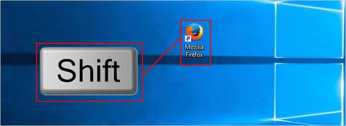Usando a tecla Shift para executar o Firefox em modo de segurança.