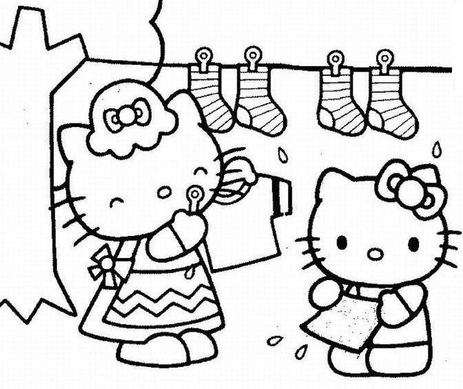 Tranh tô màu mèo hello kitty phơi đồ với bạn