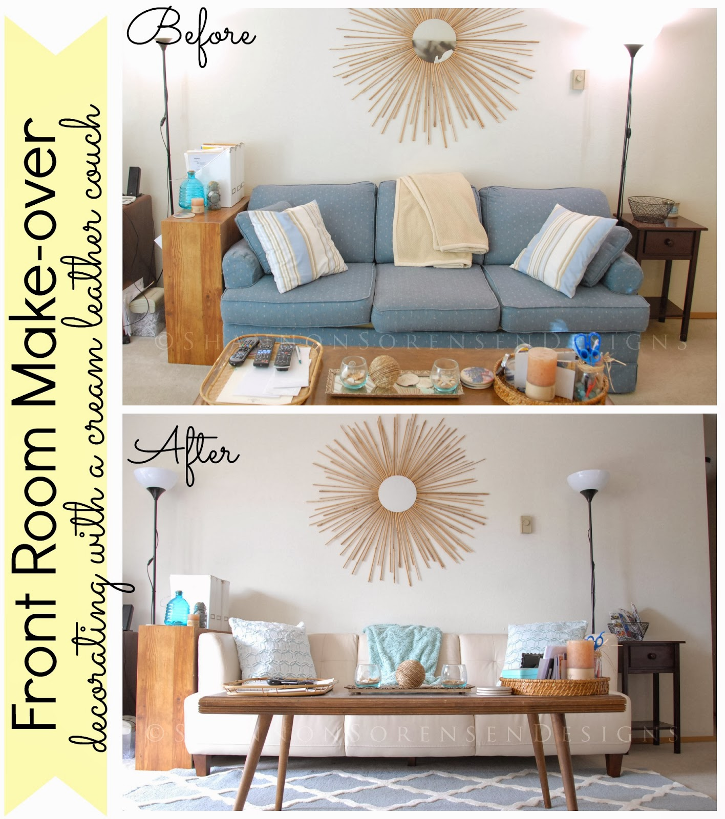Redecorate On A Budget With Cream Light Colored Leather Couch