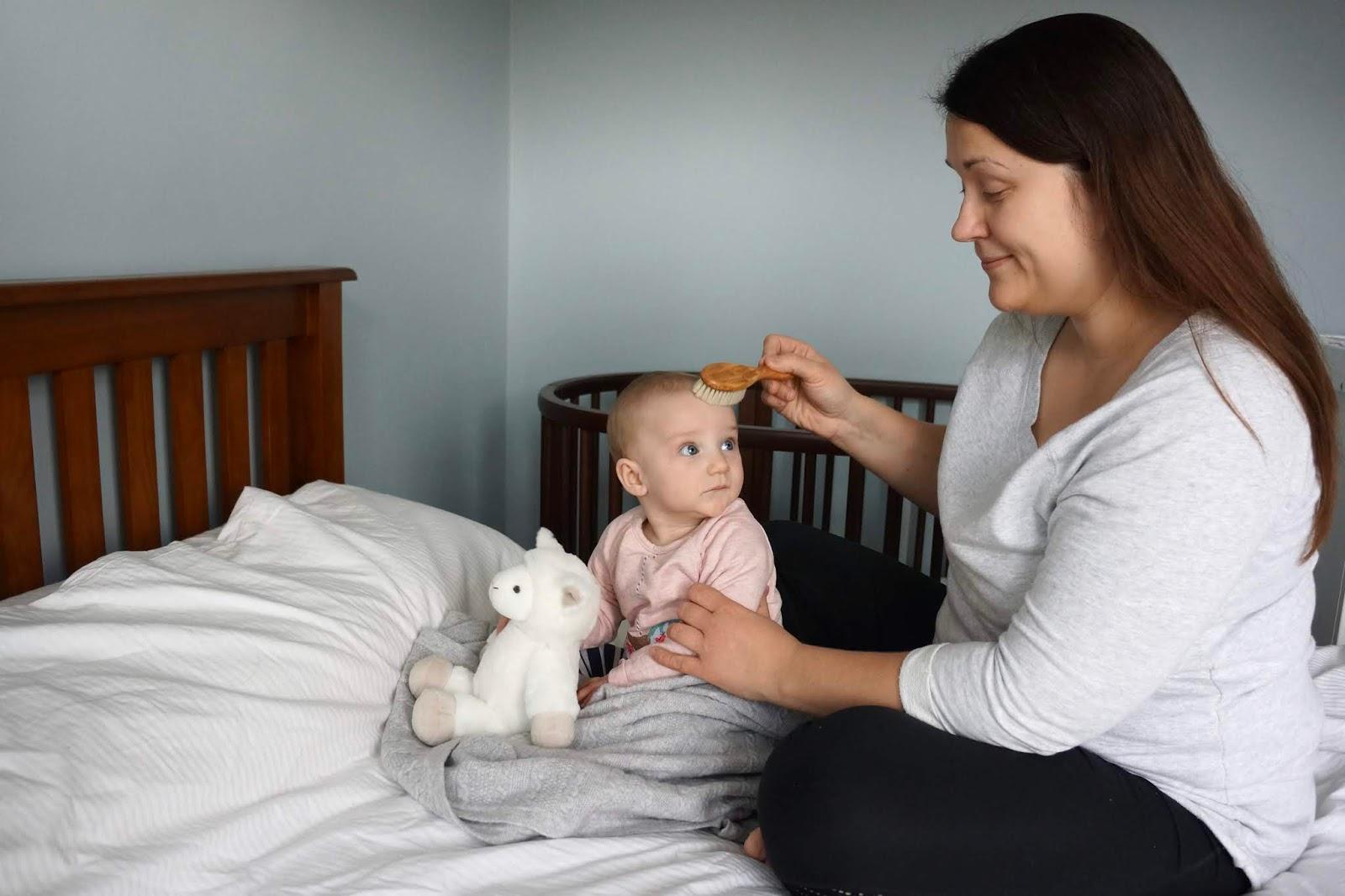 brushing babys hair