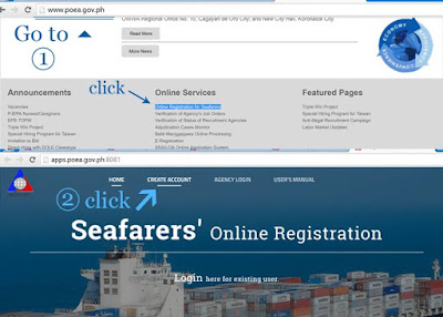 Go to POEA website, Find Online Services, Click Online Registration for Seafarer, then Create Account