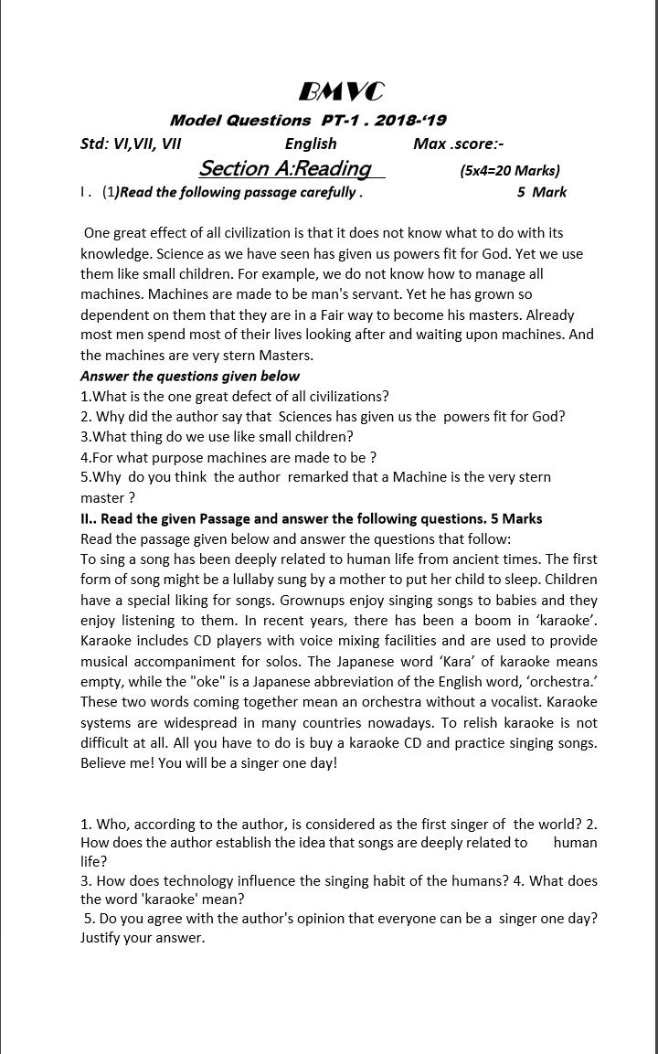 - New Venture..: Comprehension Passages Excercises- Std VI,VII,VIII
