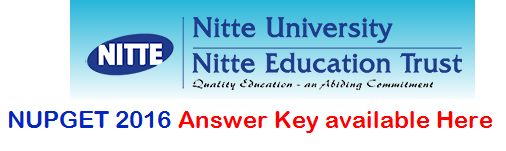 NUPGET 2016 Answer Key