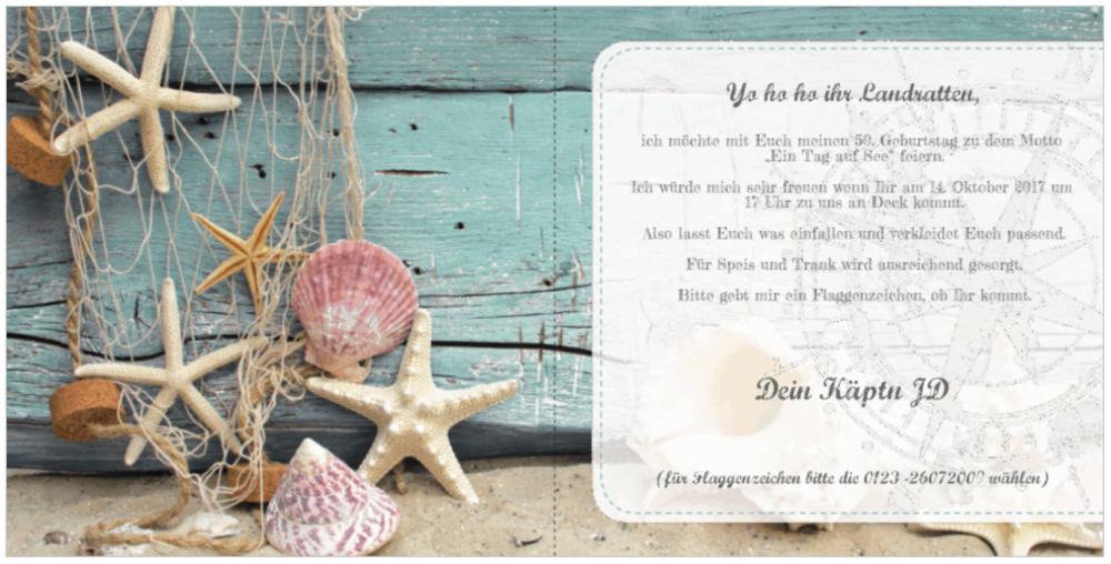 Einladungskarten für Geburtstag selbst gestalten Maritim 2