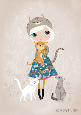 cat loving girl illustration
