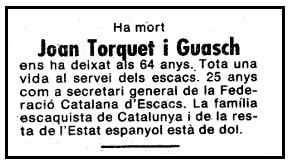 Esquela de Joan Torquet i Guasch