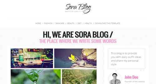 Sora Blog Blogger Template
