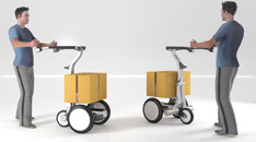 In trolley mode, the user places an object on the platform and  stands outside of the vehicle to drive. A maximum of 250kg  can be transported.