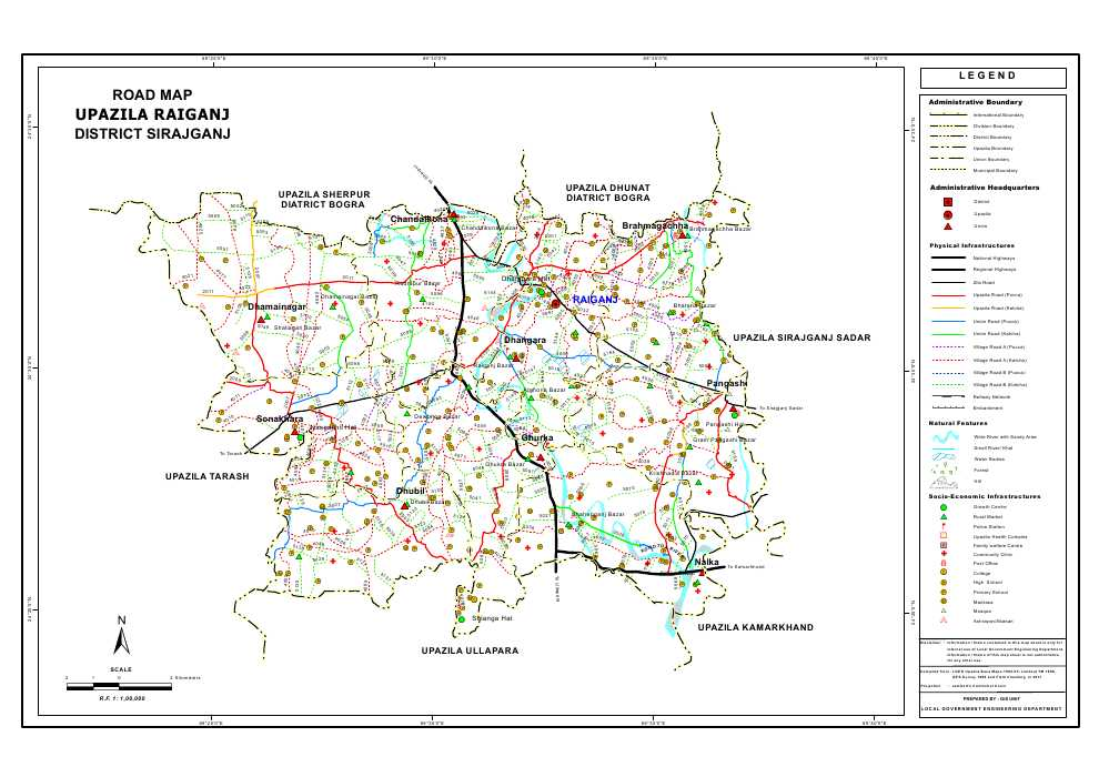 Raiganj Upazila Road Map Sirajganj District Bangladesh