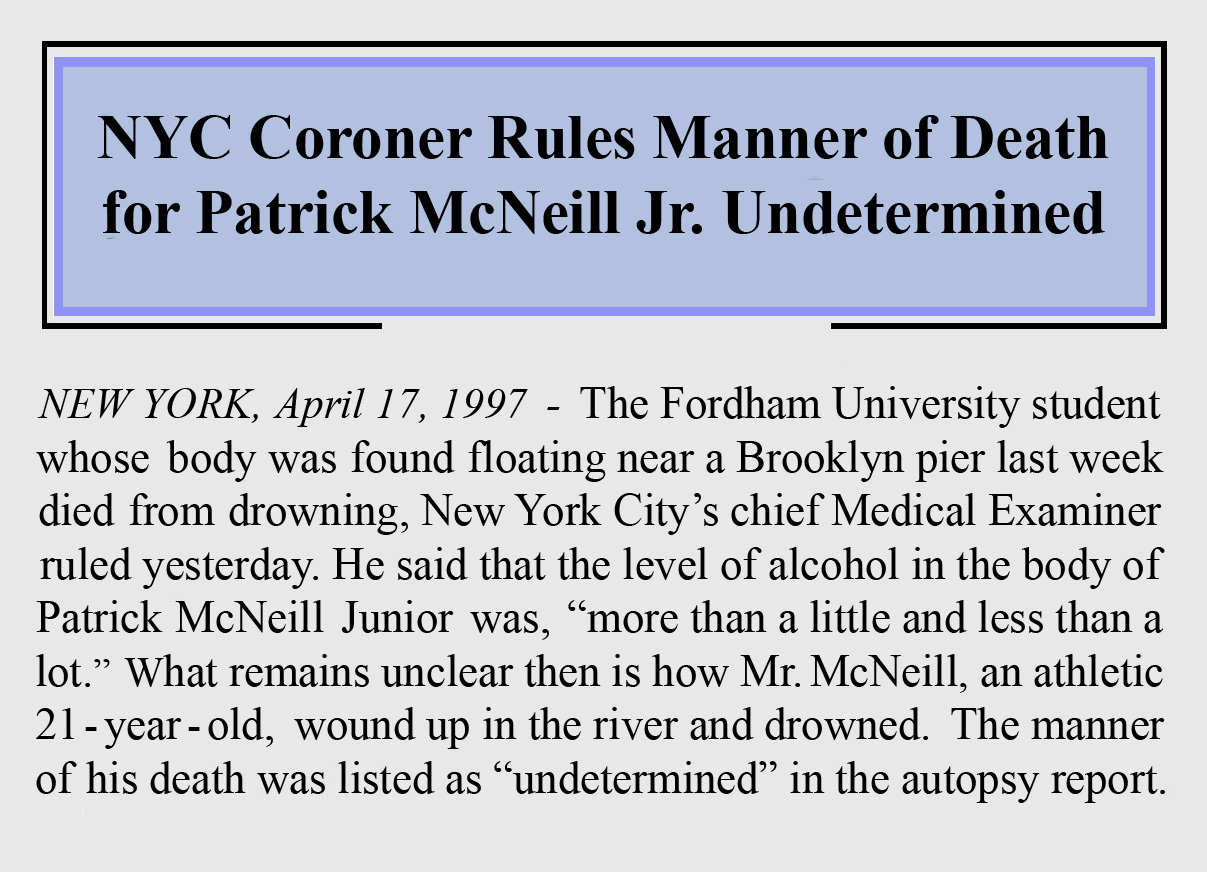 "Patrick McNeill ""found drowned"" article image 1997"