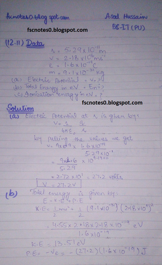 F.Sc ICS Notes: Physics XII: Chapter 12 Electrostatics Numerical Problems by Asad Hussain 12