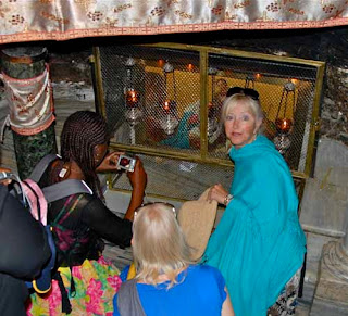 Pat at Chapel of the Manger   Touching Where Jesus Was Born   - Bethlehem, Palestinian Authority (PA)