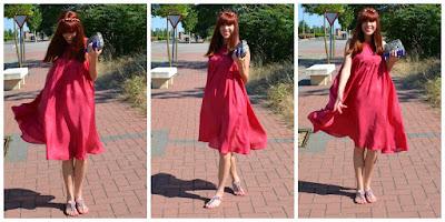 vestido seda rojo