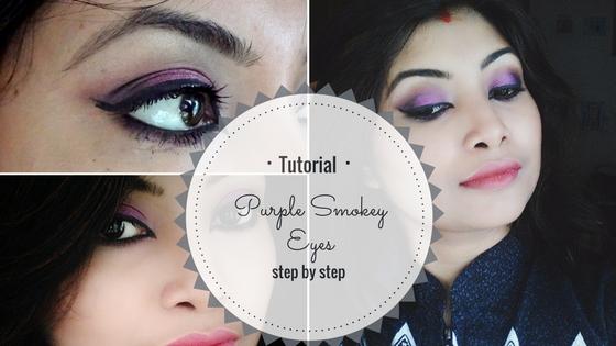 Tutorial on Purple Smokey Eyes makeup look easy step by step