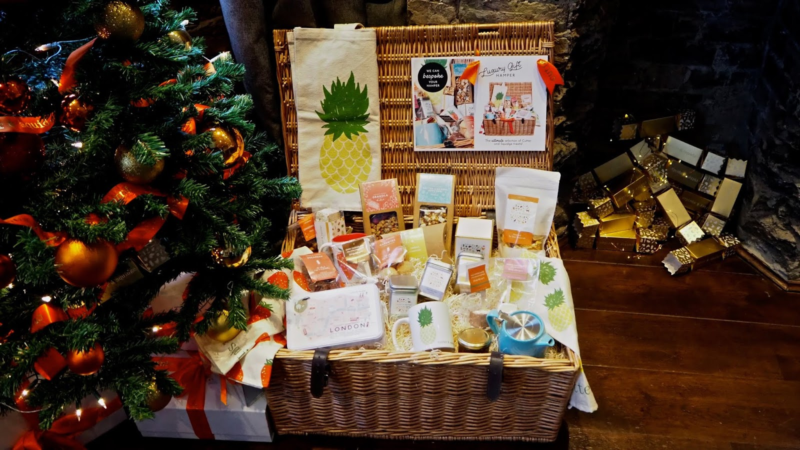 christmas tree, gift hamper and christmas crackers