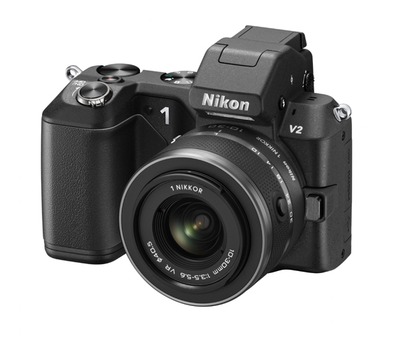 Fotografia di tre quarti della Nikon 1 V2