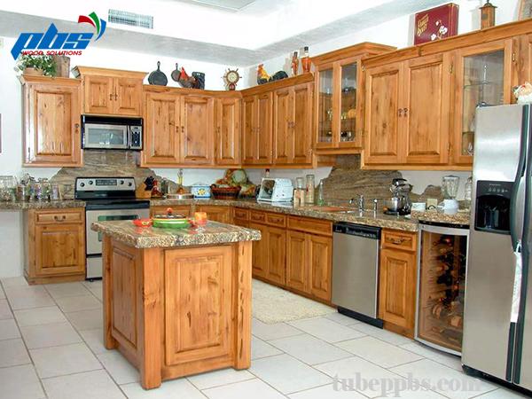 Tủ bếp gỗ sồi giá rẻ
