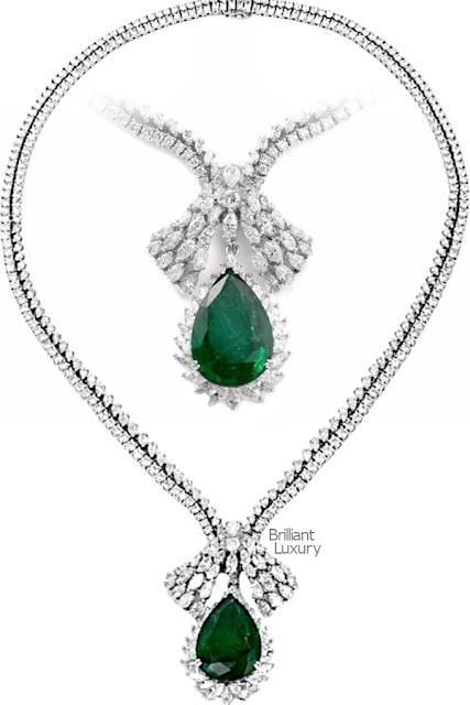 Brilliant Luxury♦1960s GIA Emerald Diamond Chocker Pendant Necklace