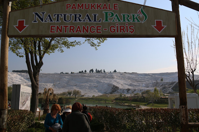 An exciting visit to the most popular attraction site, Pamukkale Themal Pools among tourists and locals in Pamukkale, Turkey
