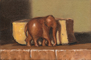 Oil painting of a small wooden elephant beside a portion of Parmesan cheese.