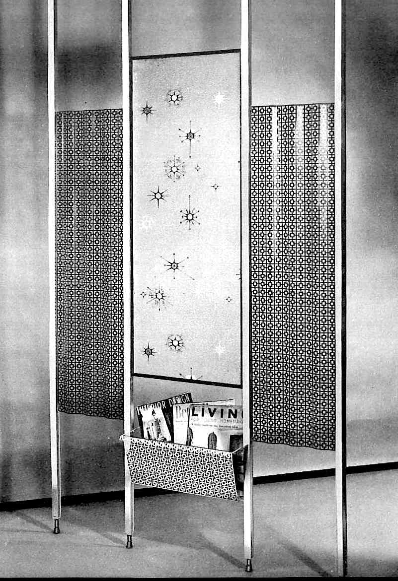1960 space divider with screens and starbursts
