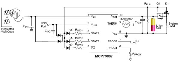 A Li Ion Battery Charger With Load Sharing Mcp73837