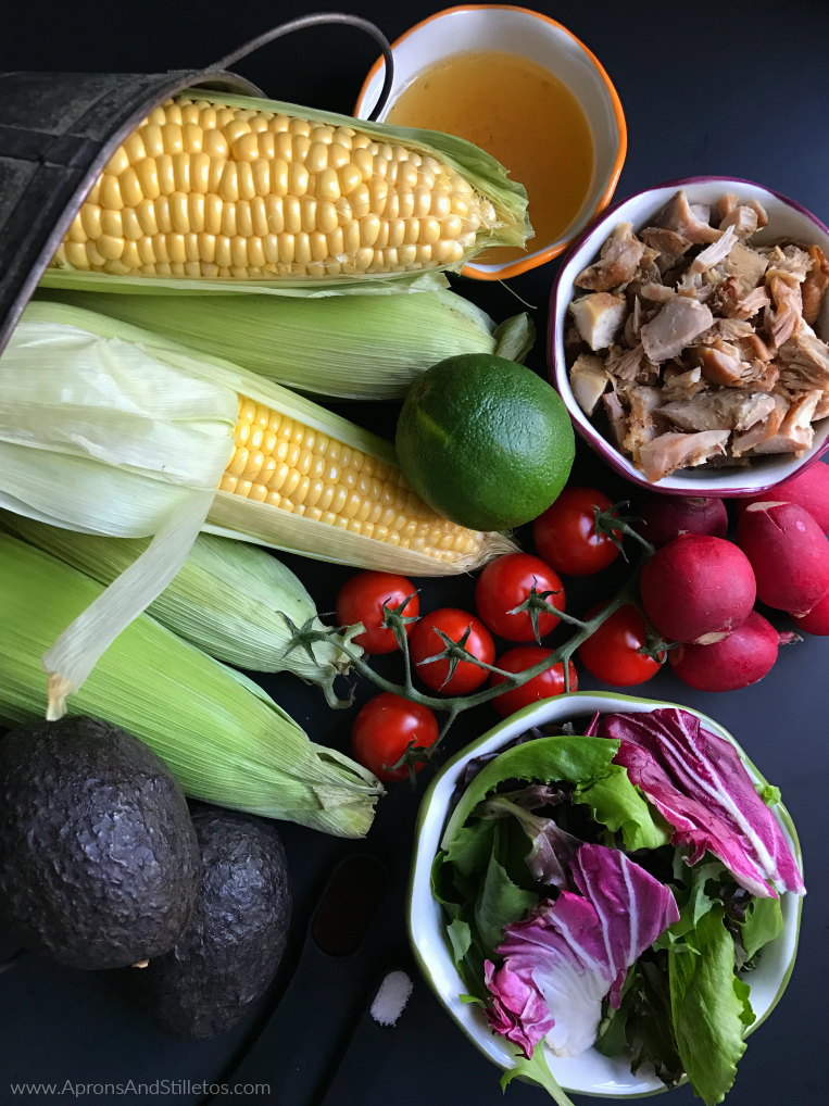 Spicy Roasted Corn, Chicken and Avocado Salad