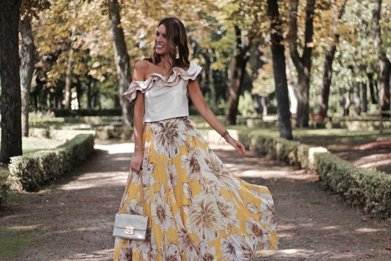 falda larga flores boda