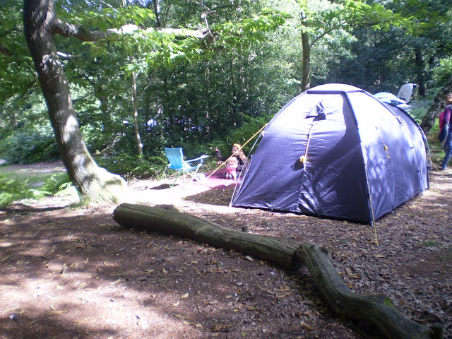 nylon tent in the woods