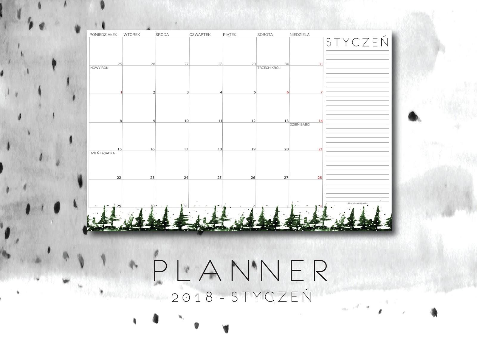 Planner - styczeń 2018 do druku
