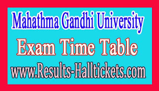 Mahathma Gandhi University B.Tech 1st Year Backlog Dec 2016 Exam Time Table