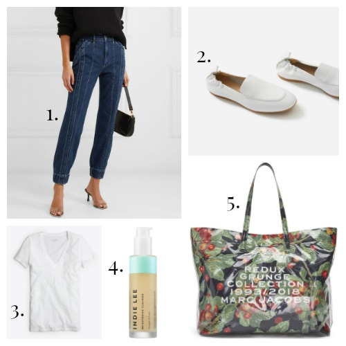 3X1 + Jason Wu Jeans - Everlane Loafers - J.Crew Tee - Indie Lee Cleanser - Marc Jacobs Tote