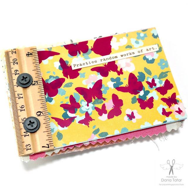 Mixed Media Patterned Paper abd Fabric Mini Album with Ruler Binding