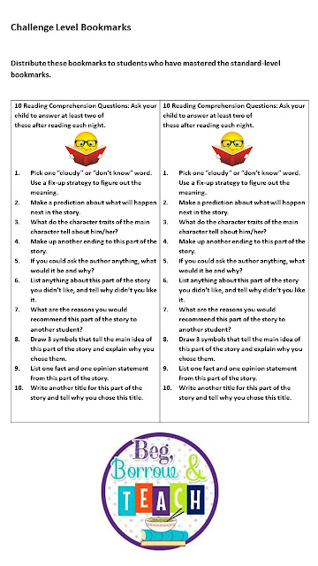 Reading comprehension bookmarks: An alternative to reading logs.