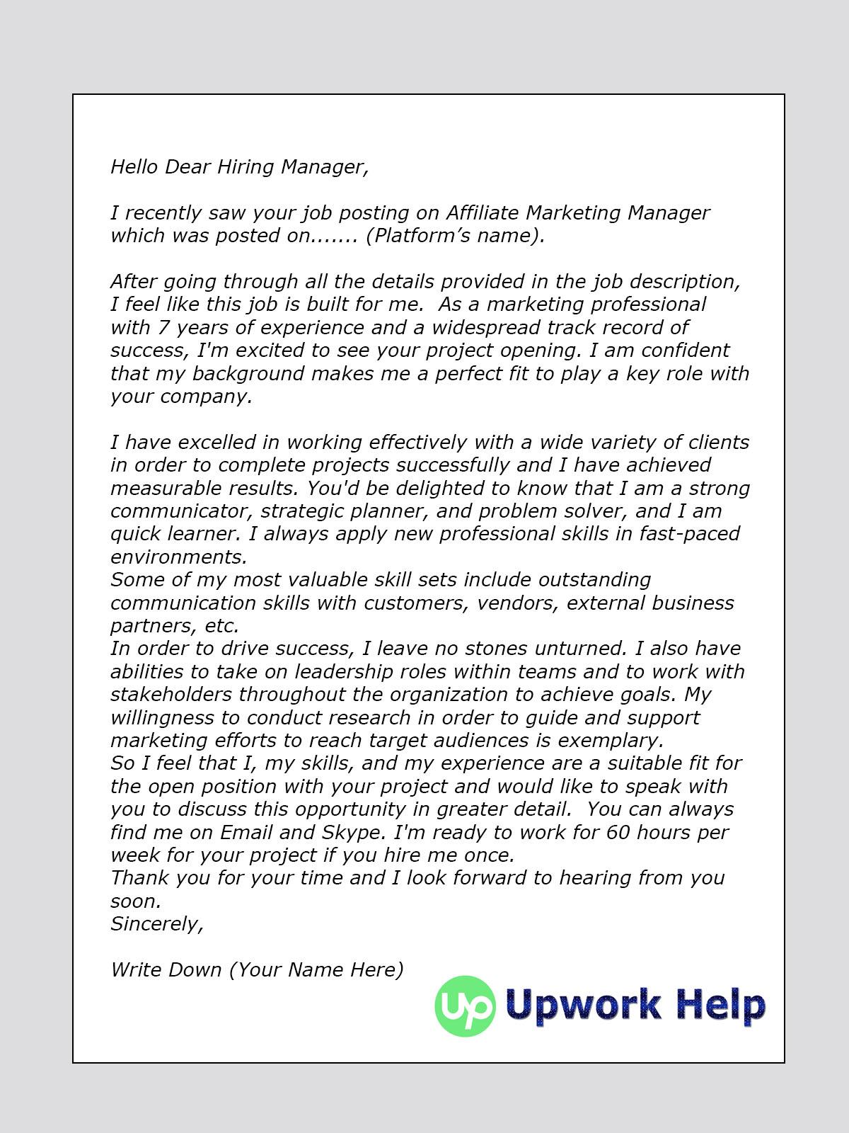 Upwork Cover Letter Sample for Affiliate Marketing Amazon Upwork