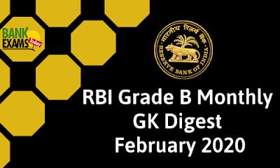 RBI Grade B GK Digest: February 2020
